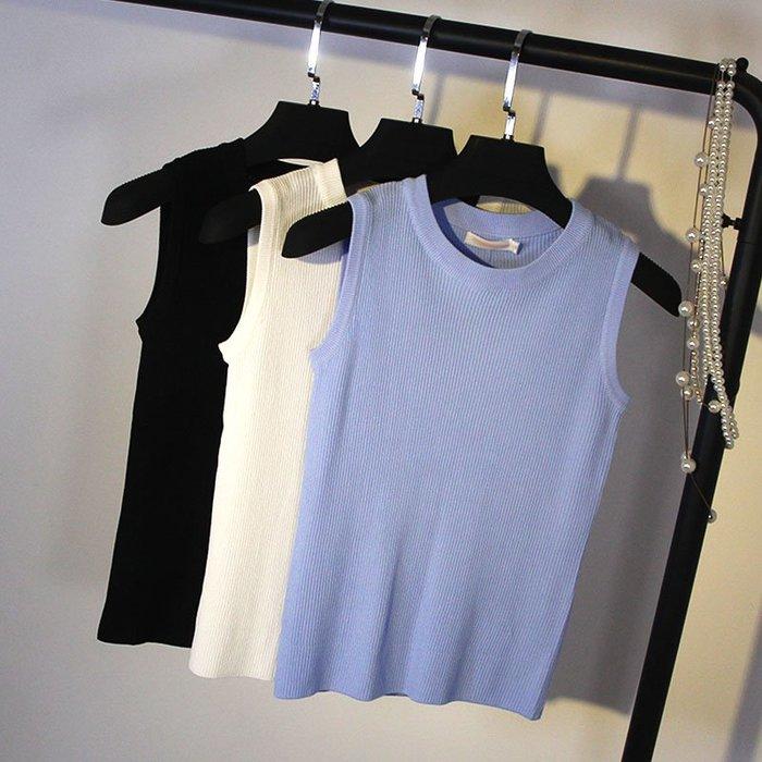 冰絲韓版無袖t恤女緊身針織吊帶背心修身短款外穿打底衫上衣夏薄