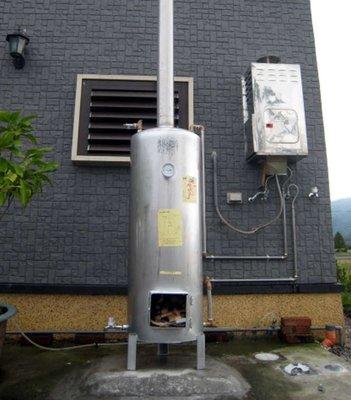 【 達人水電廣場】燒柴熱水爐 燒材熱水鍋爐 不銹鋼柴爐 木柴熱水器 60加侖 (直徑47*高147CM)