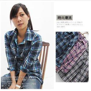 【推薦+】蘇格蘭格紋反摺袖長版襯衫式上衣C123-919(長袖格子格紋女襯衫.流行服飾.女裝)