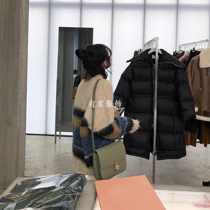 有家服飾ins網紅馬海毛條紋毛衣女冬2019新款寬松chic慵懶風套頭加厚上衣