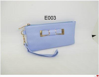 皮姐包弟~E003~蝴蝶結淺藍色手提包 手拿包 化妝包~可