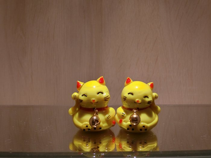 【藝晶香琉璃藝術工坊】手工琉璃招財貓一對,可愛,招財納福,擺飾