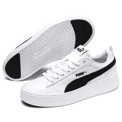 [狗爹的家] PUMA SMASH PLATFORM L 白 黑 厚底 皮革 復古 女休閒鞋 現貨 免運