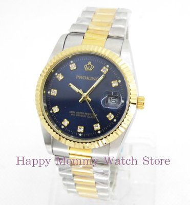 【 幸福媽咪 】網路購物、門市服務 PROKING 皇冠 日本機芯 晶鑽情人 石英男錶 型號:4001