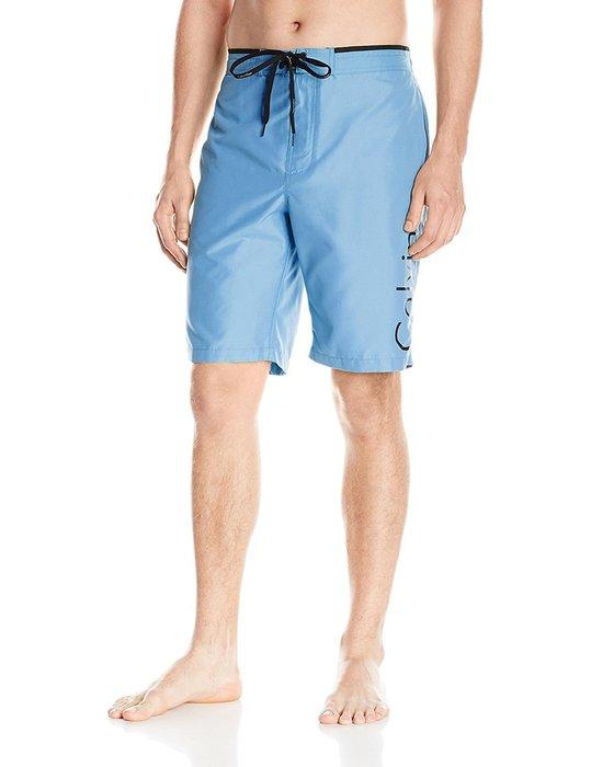 美國百分百【Calvin Klein】短褲 CK 休閒褲 海灘褲 泳褲 沙灘褲 衝浪褲 藍色 男 S號 I257