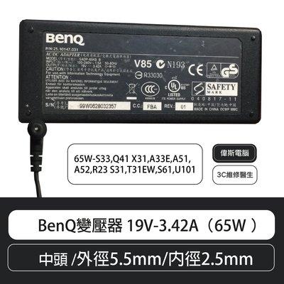 【偉斯電腦】BenQ變壓器 19V-3.42A(65W )中頭 /外徑5.5mm/內徑2.5mm