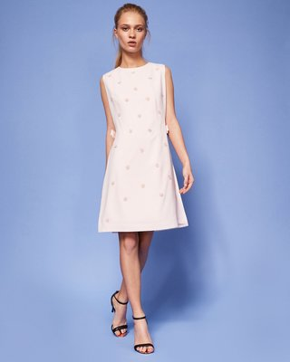 TED BAKER bow waist embellished tunic pink dress 粉紅花花連身裙 X'mas cocktail dress