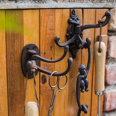 【掬涵】鑄鐵多功能掛鉤 多層多角度折疊墻鉤裝飾復古雜貨花園CY
