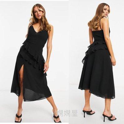 (嫻嫻屋) 英國ASOS -Pretty Lavish黑色V領細肩帶荷葉摺邊裝飾中長裙洋裝禮服 SA21