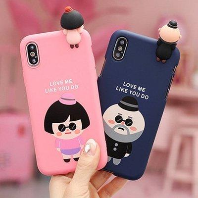 韓國 大叔&女孩 公仔 TPU軟殼 手機殼│iPhone 6 6S 7 8 Plus X XS MAX XR│z8318