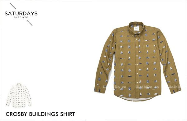WaShiDa【1010】SATURDAYS NYC 美國品牌 Crosby Buldings 建築物 印花 長袖 襯衫