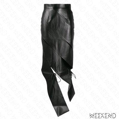 【WEEKEND】 MATERIEL 切割 綁帶 不規則裙襬 類皮裙 半身裙 黑色