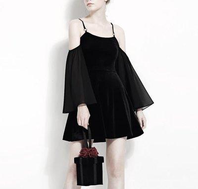 【黑店】原創設計 訂製款露肩洋裝 暗黑系洋裝女巫系洋裝 細肩帶絲絨洋裝 拼接雪紡洋裝 細肩帶洋裝個性洋裝 BL102