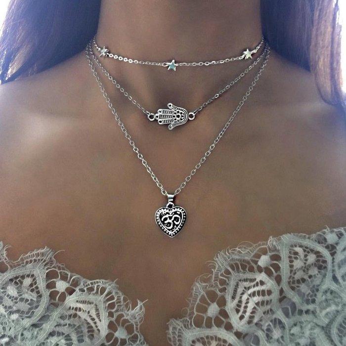 歐美飾品波西米亞風三層項鏈星星手掌愛心桃心多層項鏈