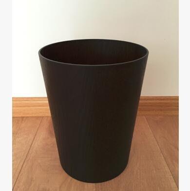 【優上】升級款深棕水曲柳圓桶無印木製垃圾桶圓形廢紙簍酒店