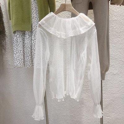 長袖 襯衫 蕾絲衫 雪紡衫 百搭韓國冬款 甜美百搭娃娃領荷葉領喇叭袖蕾絲上衣打底上衣