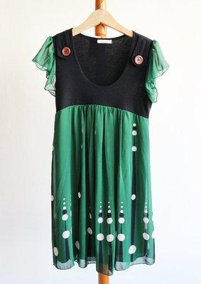 日本點點深綠色雪紡短袖洋裝-H本P36(古著-山東-女孩別哭-古婆婆參考)【300含郵】
