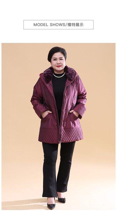6C35D 紫羅蘭連帽兩件套加厚羽絨服2XL-9XL秋冬婆婆裝媽媽裝風衣女裝外套大尺碼大碼超大尺碼
