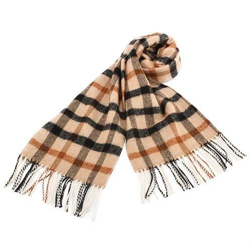 【姐只賣真貨】DAKS經典大格紋混色100%羊毛圍巾(駝色)