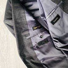 Super130【 D'URBAN 】都本 深鐵灰淡格紋單排扣西裝外套