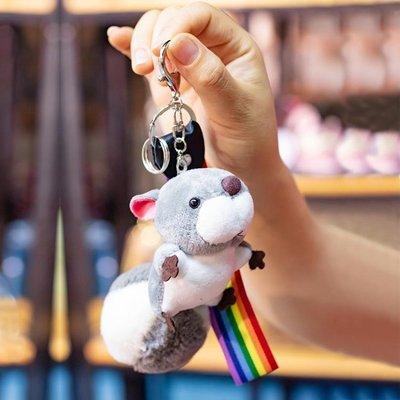 鑰匙扣 卡通鬆鼠鑰匙扣毛絨可愛公仔掛件鑰匙圈環創意汽車鑰匙鍊包包掛飾AMSS