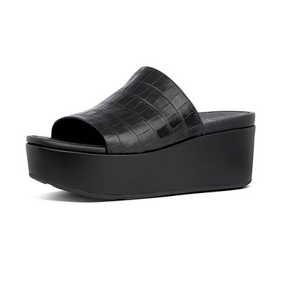 代購全新正品 Fitflop ELOISE Croc-Print Wedge Slides女鞋 US 6~8