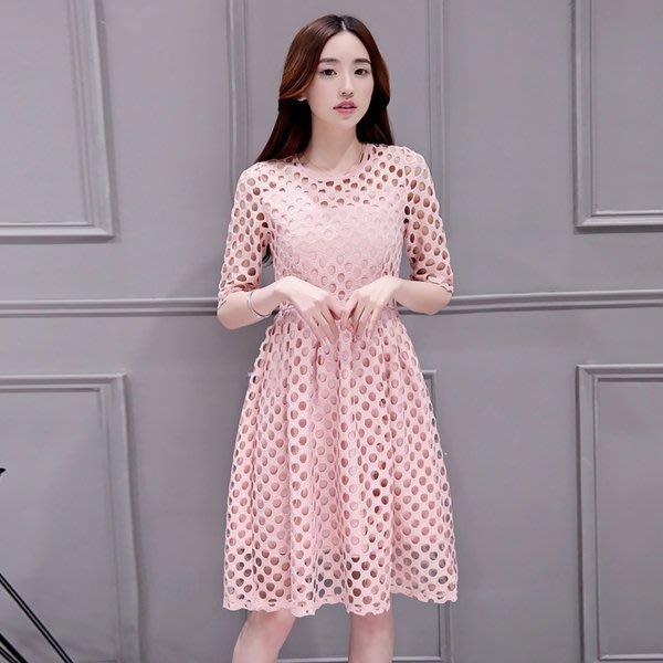 連身裙 純色簍空蕾絲裙