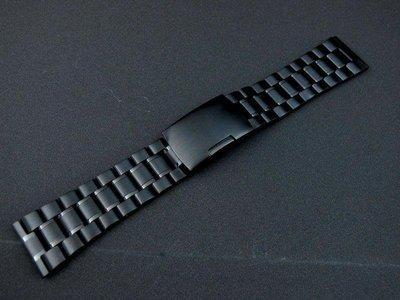 22mm=黑色真空離子電鍍sea master 海馬風格不鏽鋼製錶帶非烤漆seiko, citizen