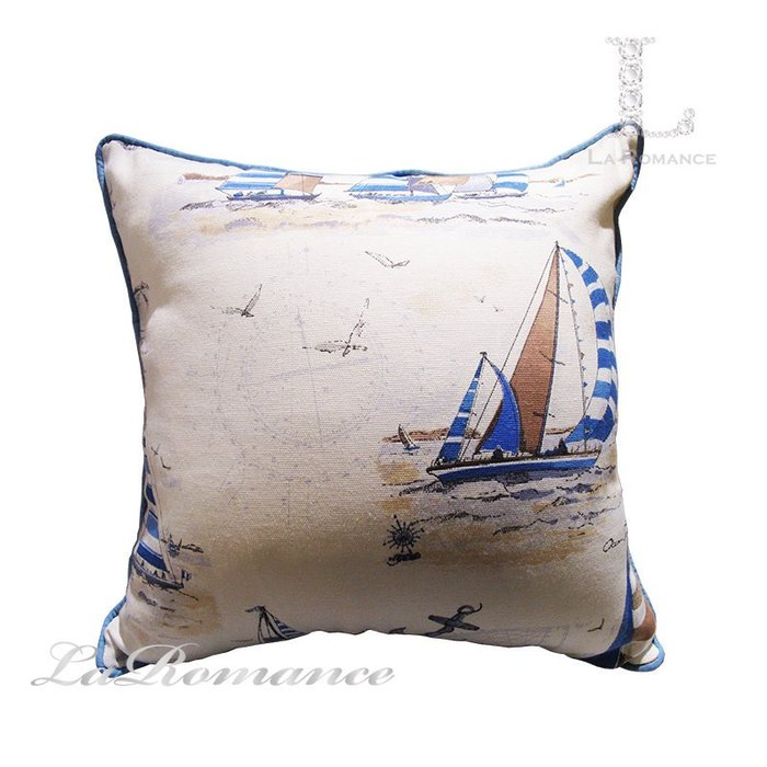 【芮洛蔓 La Romance】帆船亞麻抱枕 - 藍 / 靠枕 / 靠墊