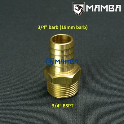 """Brass Adapter Fitting 3/4"""" Barb (19mm barb) to 3/4"""" BSPT"""