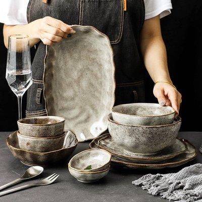 有一間店-日式石紋餐具復古盤子個性創意餐盤意面盤沙拉碗盤老式粗陶碗碟(規格不同 價格不同)