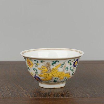 ㊣姥姥的寶藏㊣大明宣德年制五彩描金海象紋壓手杯主人杯功夫茶杯酒杯