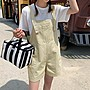 Bellee 正韓 大口袋木扣棉質吊帶短褲  (3色)【Z62606】