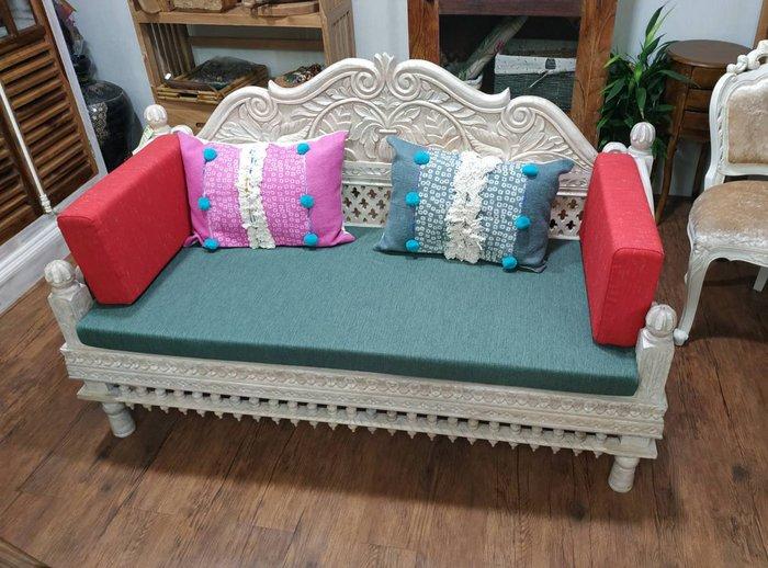 【肯萊柚木傢俱館】印度風情 手工雕刻 優雅古典 油木全實木 二人座沙發 貴妃椅 限量一只