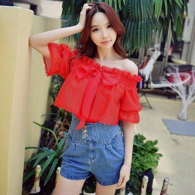 C686G短袖紅色荷葉邊蕾絲襯衫一字領蝴蝶結短袖T恤許願魔鏡@wishing Mirror-*-D17BTS011