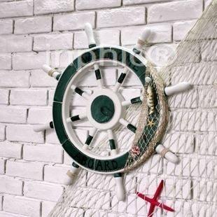 INPHIC-超大型帶漁網船舵 地中海風舵手擺飾 牆飾壁飾大型立體歡迎牌