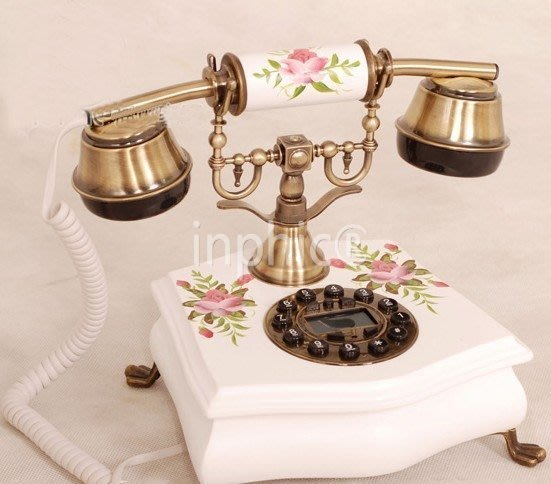INPHIC-實木話機有來電顯示仿舊田園工藝歐式古典電話機