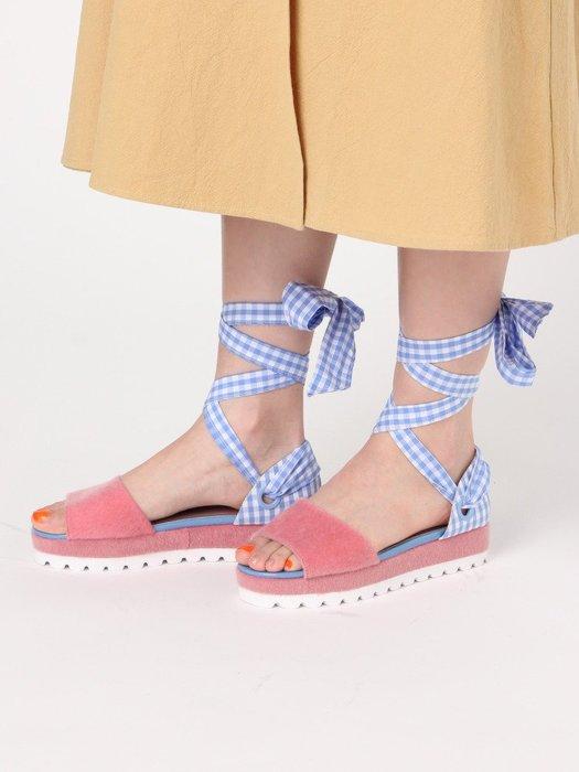 SeyeS  日本空運五折代購 - 雜誌款甜美格子繫帶涼鞋