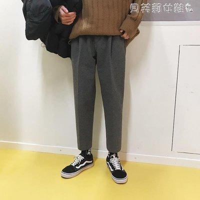 西裝褲冬季韓版潮流休閒褲加厚呢料西褲直筒九分褲褲西裝褲男呢子褲