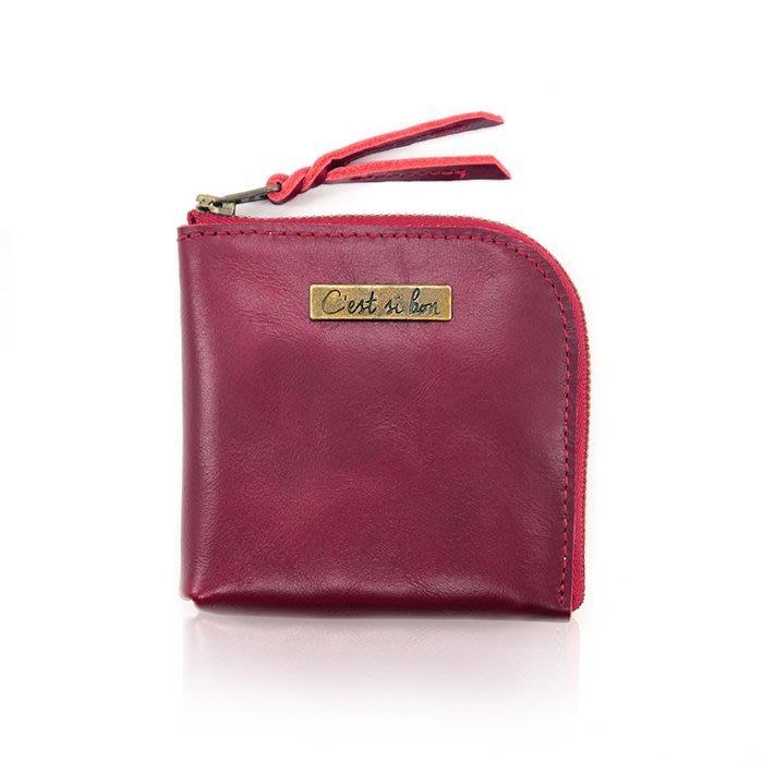 C'est Si Bon|【現貨。免運】進口真皮L型拉鍊零錢包/鈔票短夾-深玫紅 禮品 盒裝