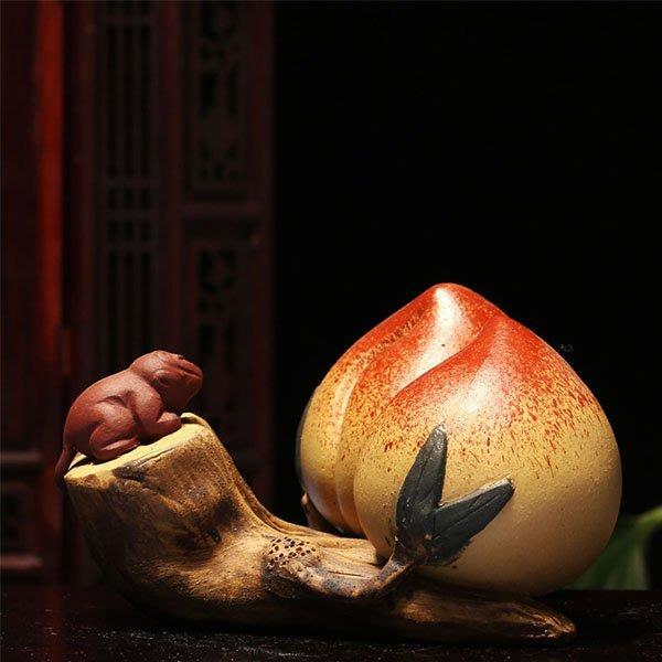 5Cgo【茗道】含稅會員有優惠 559192121922 宜興紫砂茶寵茶玩泡茶茶海功夫茶茶具倉鼠獻壽桃茶寵創意名片夾茶玩