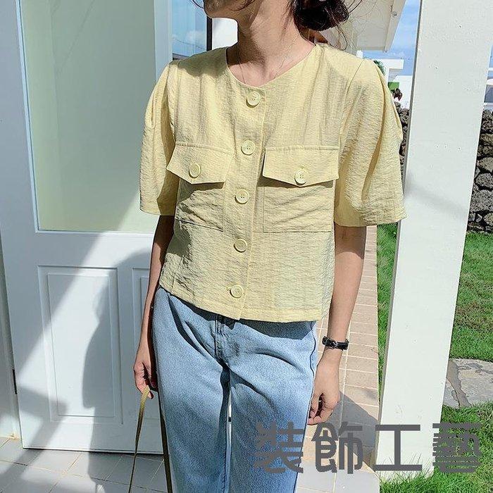 夏季新款韓版chic顯瘦百搭設計感短款棉麻襯衫上衣女