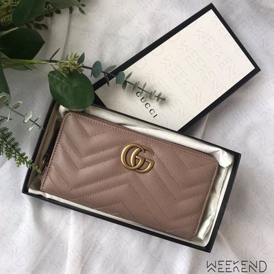 【WEEKEND】 GUCCI GG Marmont 皮革 拉鍊 皮夾 長夾 卡夾 裸粉色 443123