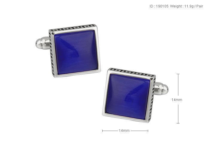 【MEN THE SHOP歐洲直送】 鍍藍色玻璃 電鍍白鋼  袖釘190105