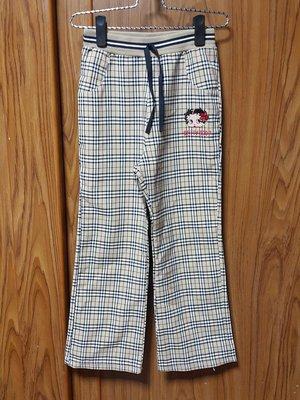 (R148)女童貝蒂娃娃格紋棉麻長褲 ~牧牧小舖~優質二手衣~