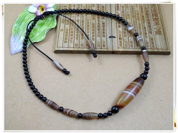 [海芋福福之家]TZ603B天然纏絲瑪瑙勒子天珠項鍊☆贈纏絲瑪瑙手鍊