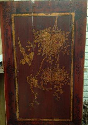 【黑狗兄】早期描金彩繪木板,窗花一件---01