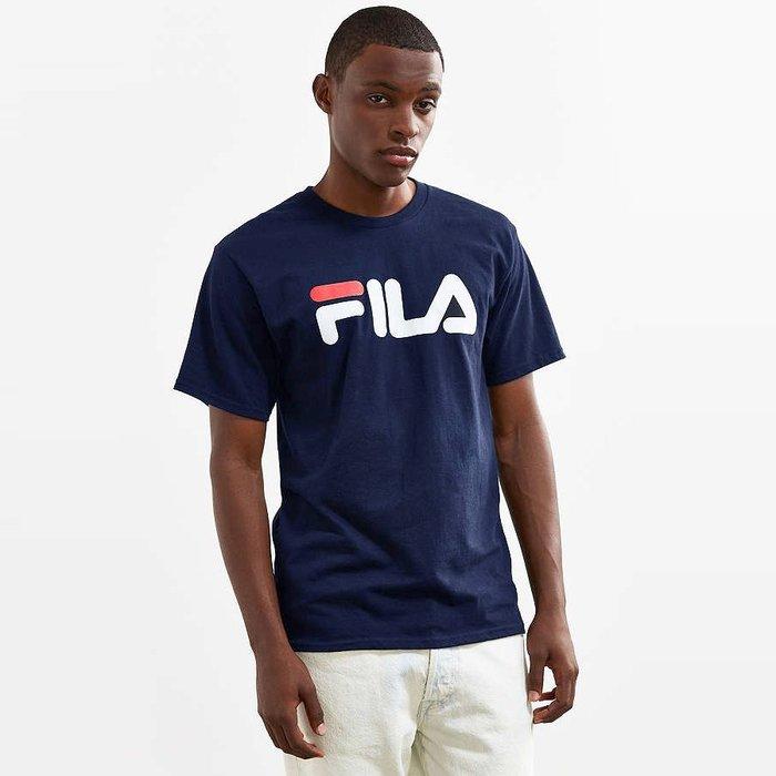 美國百分百【全新真品】FILA 短袖 T恤 上衣 T-shirt 運動潮流 復古 深藍 大logo M號 I540