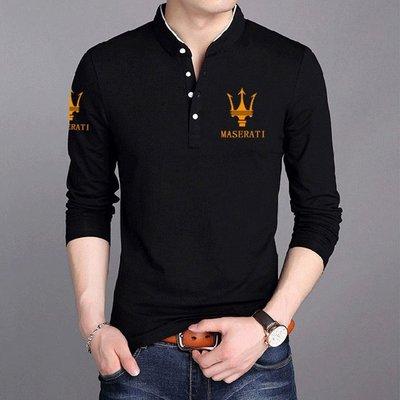 ☜男神閣☞Maserati瑪莎拉蒂大碼體恤polo衫立領純棉印花衣服韓版修身潮百搭長袖T恤