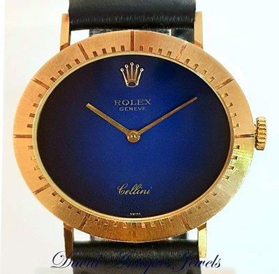 ((天堂鳥)) Rolex Cellini 4083 勞力士西里尼1601 機芯 18K漸層藍面手上鍊錶|精緻特殊橢圓形